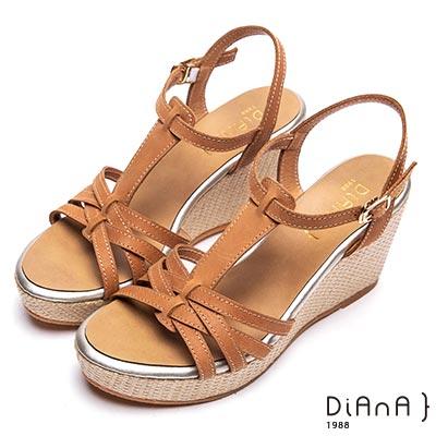 DIANA交錯線條編織底楔型涼鞋-度假女神-棕
