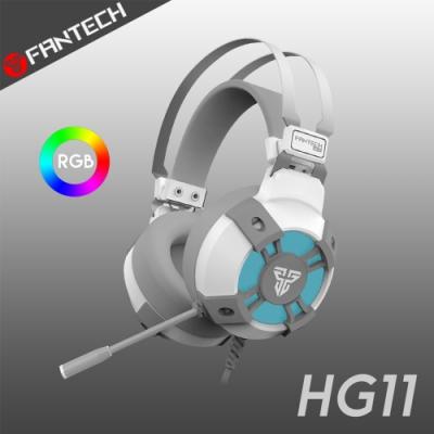 FANTECH HG11 7.1環繞立體聲RGB耳罩式電競耳機-白色經典款
