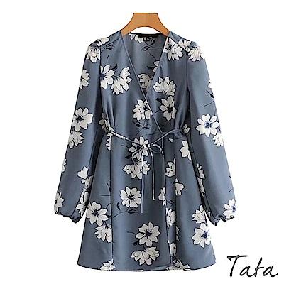 花朵印花開衫式綁帶洋裝 TATA
