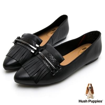 Hush Puppies 牛皮流蘇娃娃鞋-黑色
