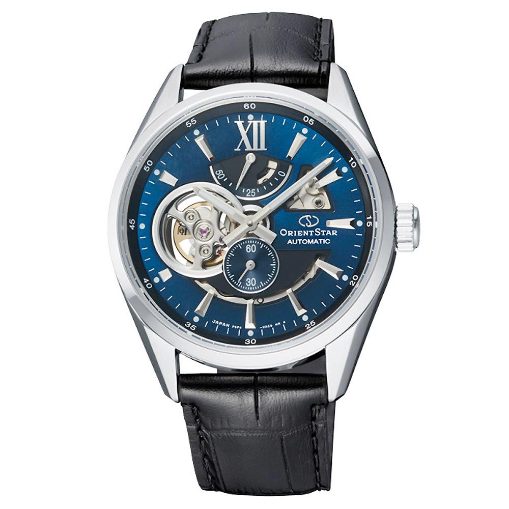 ORIENT STAR 東方之星真皮機械手錶 RE-AV0005L-藍X黑/41mm