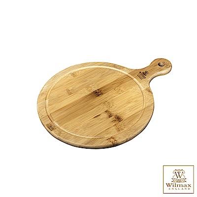 英國 WILMAX 圓形竹製附柄托盤/輕食盤 (31x23CM)