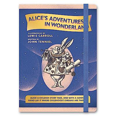 7321 Design 魔幻系列-愛麗絲綁帶橫線精裝筆記本-白兔先生