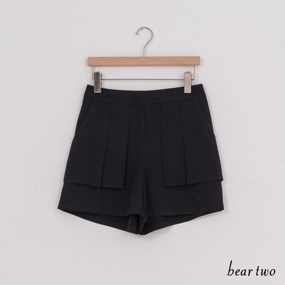 beartwo-百褶修身口袋鬆緊短褲-黑色