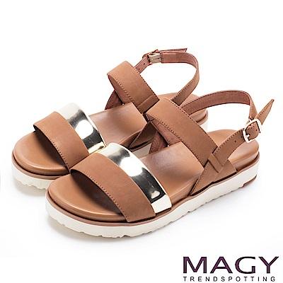 MAGY 休閒時尚舒適 雙帶牛皮撞色平底涼鞋-棕色