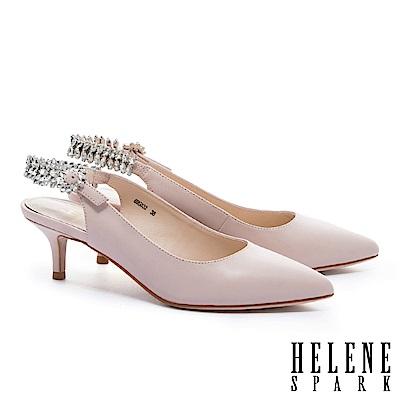 高跟鞋 HELENE SPARK 華麗晶鑽繫帶羊皮尖頭高跟鞋-粉