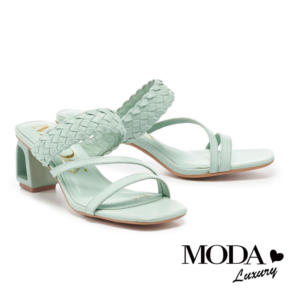 拖鞋 MODA Luxury 簡約質感編織寬帶鏤空造型高跟拖鞋-綠