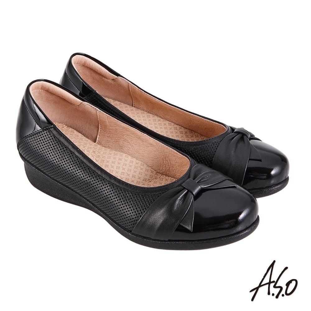 A.S.O 職場通勤 紓壓氣墊嚴選牛皮蝴蝶結奈米通勤鞋-黑