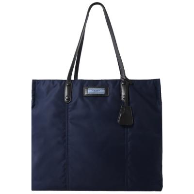 PRADA 標籤LOGO厚尼龍購物托包(深藍)