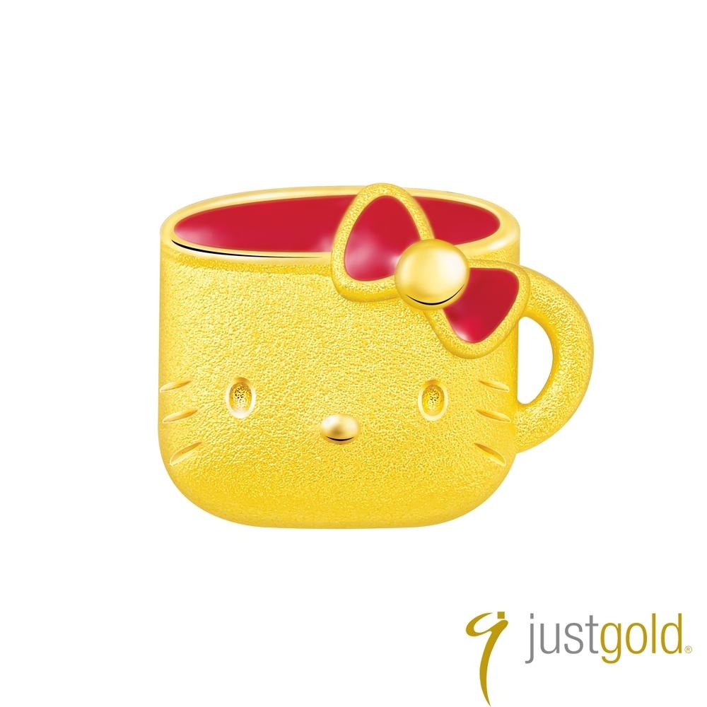 鎮金店Just Gold Hello Kitty 45周年純金系列 黃金單耳耳環-水杯
