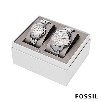 FOSSIL Gift Set 經典羅馬數字銀色不銹鋼對錶 46mm BQ2180SET