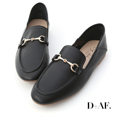D+AF 品味焦點.馬銜釦可後踩樂福鞋*黑
