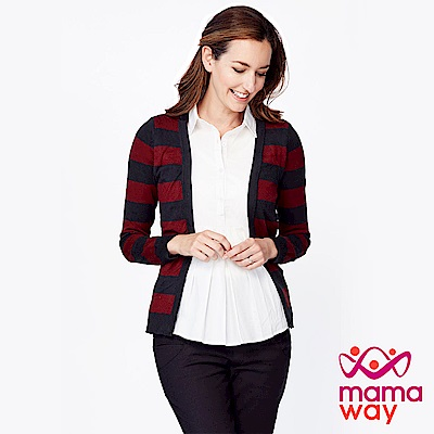 mamaway媽媽餵 襯衫領針織外套孕哺假兩件上衣 (共兩色)