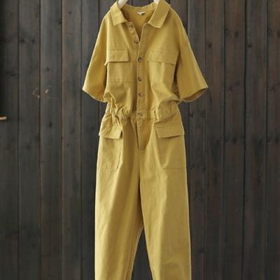 工裝風斜紋全棉鬆緊腰翻領寬鬆連身褲-設計所在