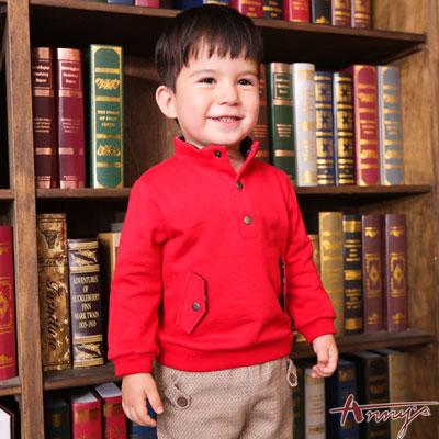 Annys高級氣質立領壓釦造型口袋長袖上衣*6486紅