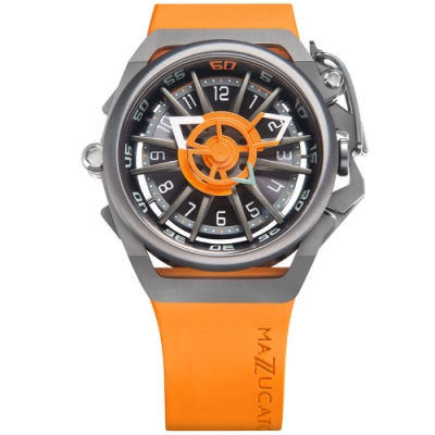MAZZUCATO 義式美學鷗翼式翻轉機械石英雙面手錶(RIM05-OR5555)