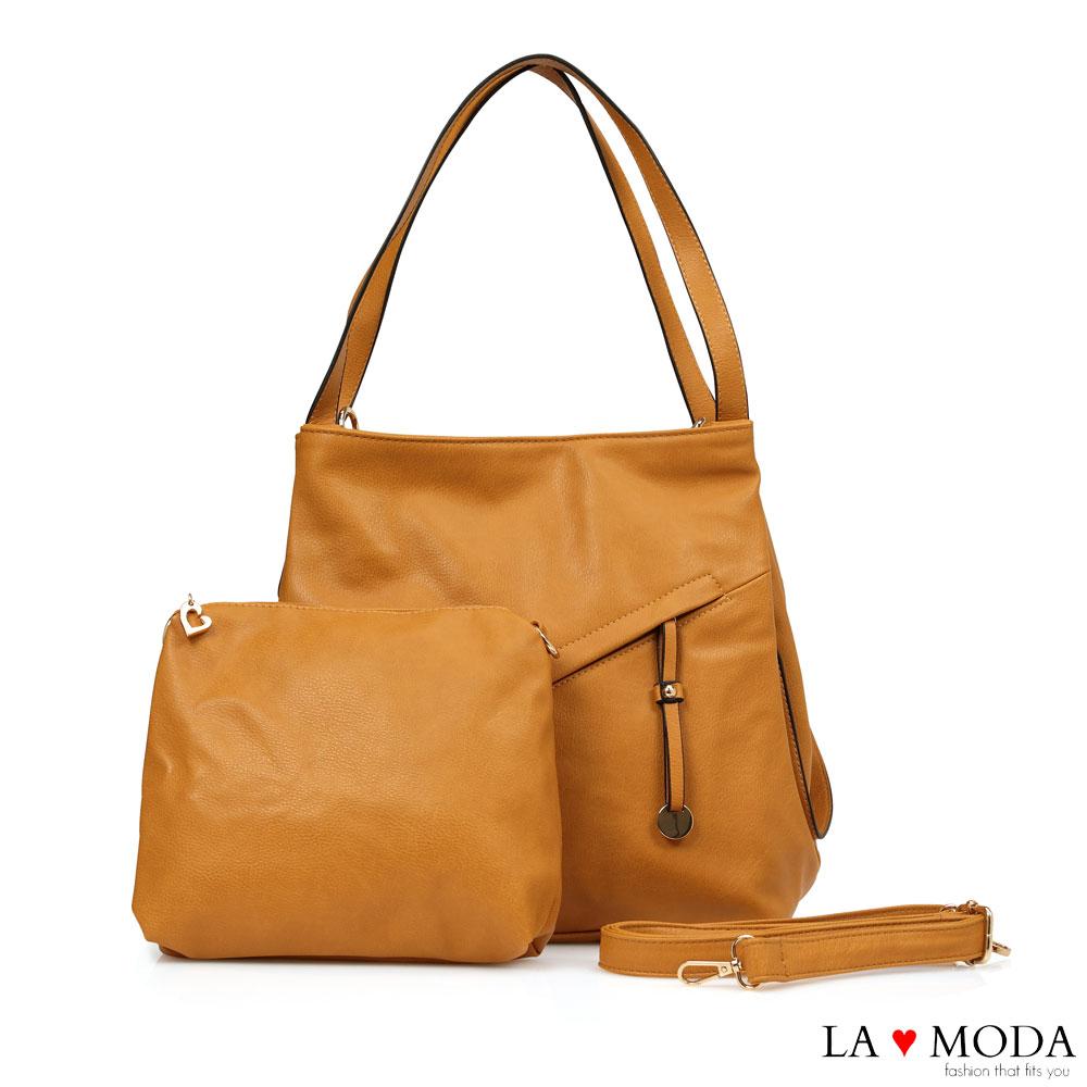 La Moda超柔軟皮質大容量肩背斜背子母包(棕)