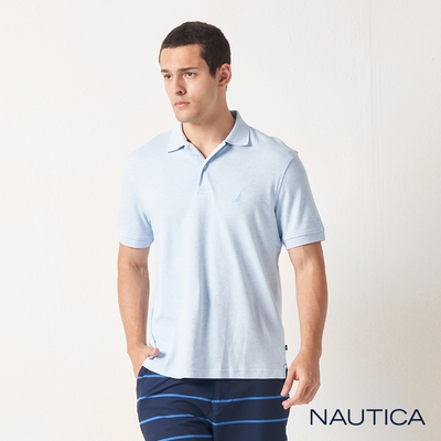 Nautica經典純棉短袖POLO衫-淺藍