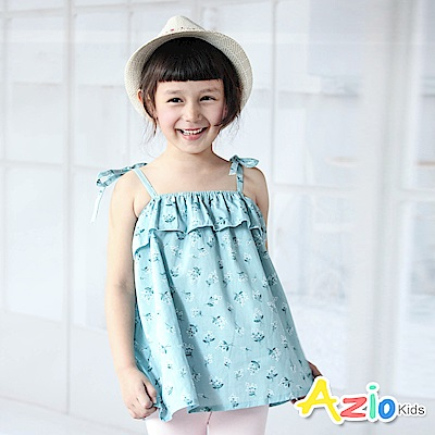Azio Kids 上衣 滿版碎花平口綁帶上衣(藍)