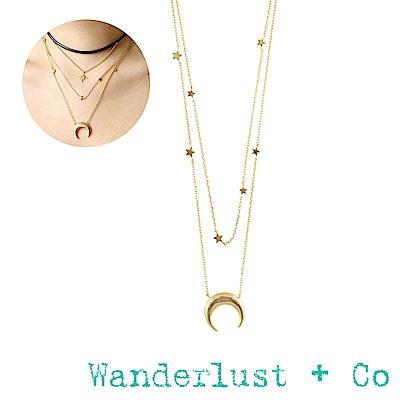 Wanderlust+Co新月群星雙層項鍊 - 玫瑰金色