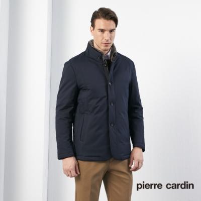 Pierre Cardin皮爾卡登 男裝 進口素材毛領羽絨外套-丈青色(5185702-39)