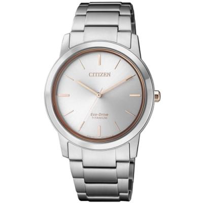 CITIZEN 星辰 PAIR品味光動能鈦金屬腕錶-銀34mm(FE7024-84A)