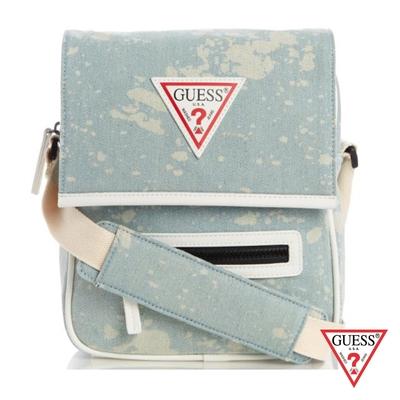 GUESS-男包-簡約素色LOGO休閒包-藍 原價2490