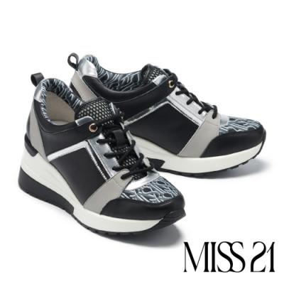 休閒鞋 MISS 21 時髦潮態LOGO印花拼接厚底休閒鞋-黑