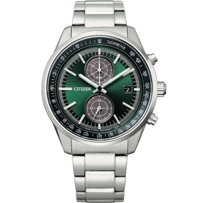 CITIZEN GENTS 光動能時尚計時男錶(CA7030-97W)-綠/41mm