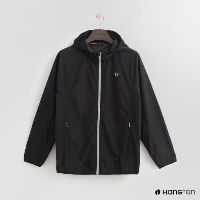 Hang Ten-男裝-ThermoContro-拉鍊設計機能連帽外套-黑