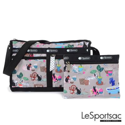LeSportsac - Standard雙口袋斜背包-附化妝包(毛孩愛搗蛋)