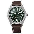 CITIZEN GENT'S光動能震撼時尚腕錶-深咖X綠(BM6838-25X)42mm