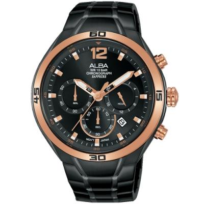 ALBA雅柏 潮流三眼計時手錶(AT3G36X1)-黑x玫瑰金/44mm