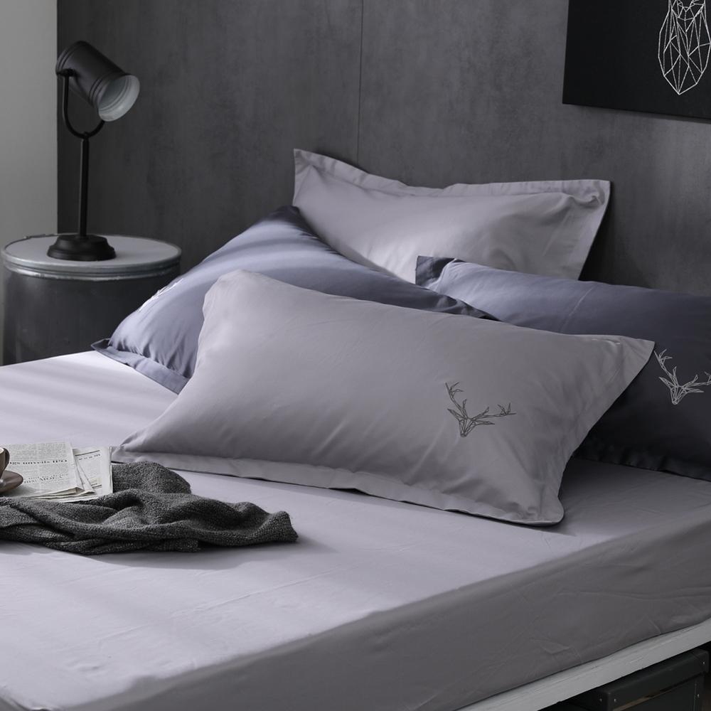 OLIVIA  Saul 淺灰 標準雙人床包歐式枕套三件組 300織匹馬棉系列 台灣製