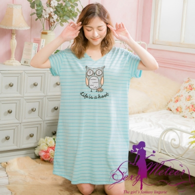 睡衣 全尺碼 棉質橫紋貓頭鷹短袖連身裙睡衣(清新藍) Sexy Meteor