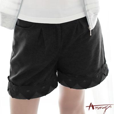 Annys甜美蕾絲花朵雙口袋反摺短褲*7347黑