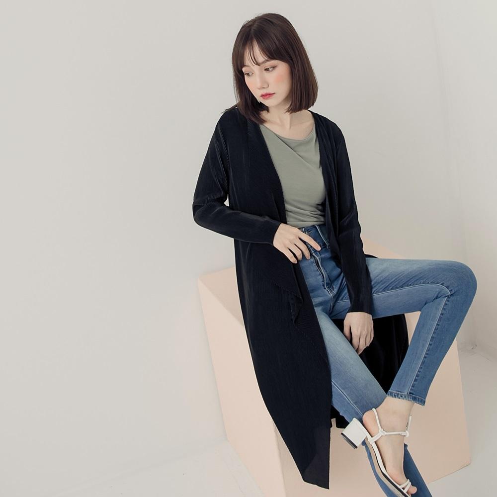 光澤感壓褶長版罩衫-OB嚴選