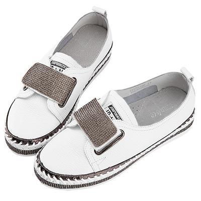 Robinlo & Co.鑲鑽魔鬼氈街頭風休閒鞋 白