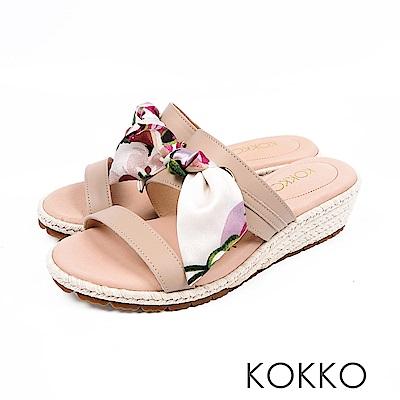 KOKKO - 陽光芬芳蝴蝶結草編超軟底拖鞋-奶油杏