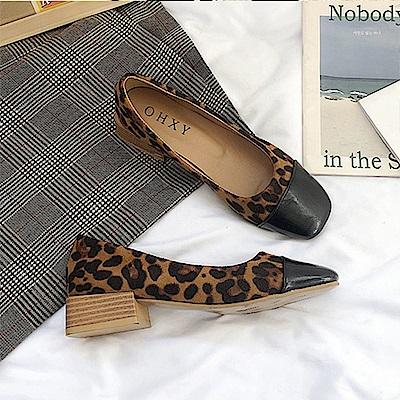 KEITH-WILL時尚鞋館 年度精選絕美閃耀粗跟鞋-豹紋
