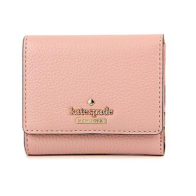 kate spade 荔枝皮革扣式卡片夾/零錢包  粉色