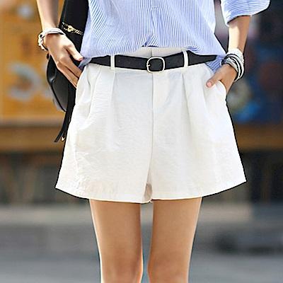 正韓 純色壓褶鬆緊腰寬管短褲 (共三色)-N.C21