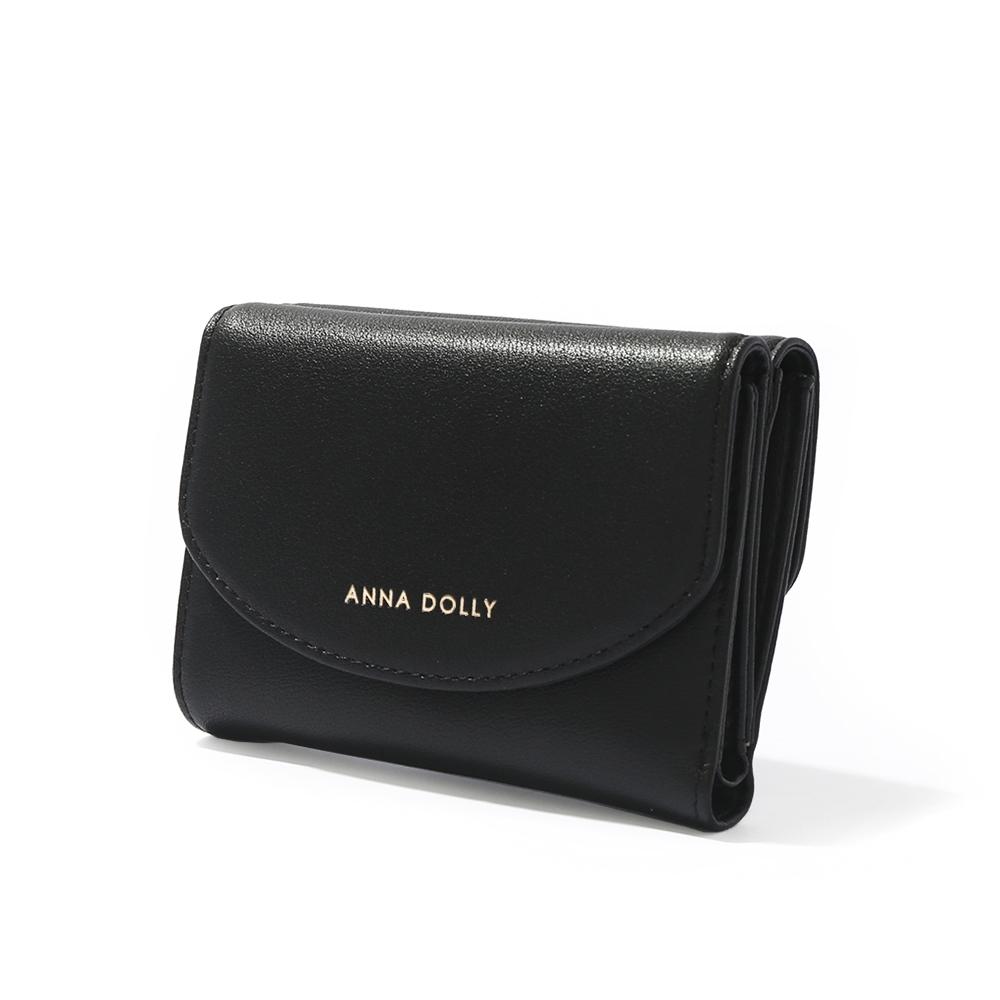 ANNA DOLLY 韓系時尚雙面真皮三折短夾 經典正黑