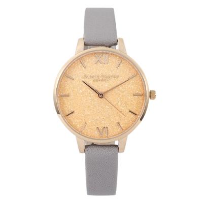 Olivia Burton 英倫復古手錶 星光錶盤灰色皮革錶帶玫瑰金錶框34mm