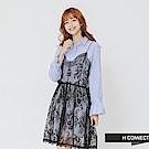H:CONNECT 韓國品牌 女裝-細肩蕾絲兩件式襯衫洋裝-藍