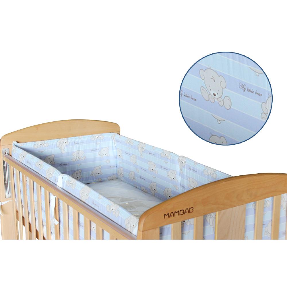《夢貝比》小熊友友-加高型嬰兒床單護圈-粉藍(M)