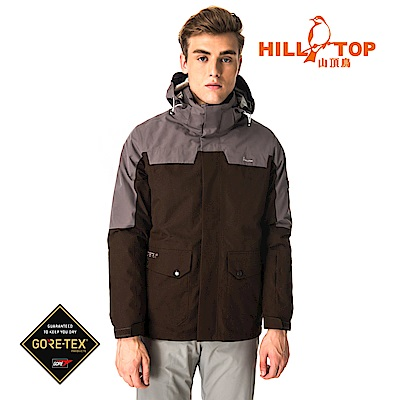 【hilltop山頂鳥】男款GORETEX兩件式防水羽絨短大衣F22MY3咖啡色
