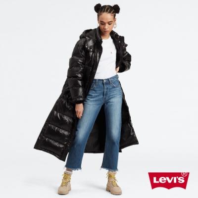 Levis 女款 501Crop高腰合身直筒 排釦牛仔褲 褲管抽鬚 及踝款