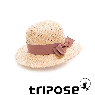 tripose 都會清新-100% Raffia入門款圓頂寬飾帶草帽(飾帶-楂紅)