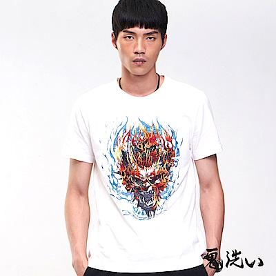 鬼洗 BLUE WAY 經典鬼洗-火焰骷髏短袖T恤(白)